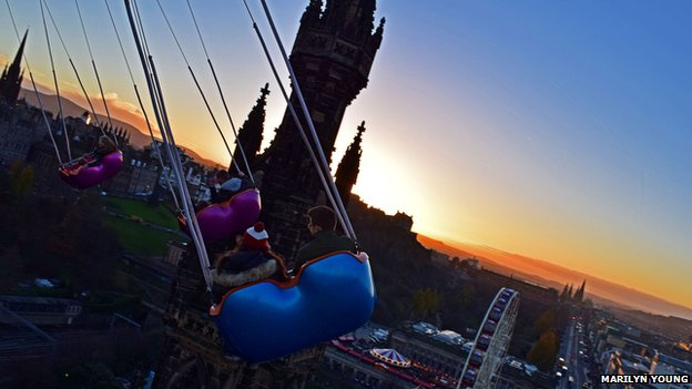 Sunset from the top of the Star Flyer in Edinburgh
