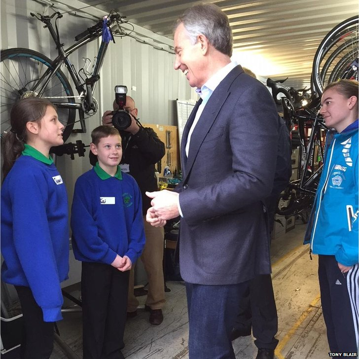 Tony Blair and school pupils