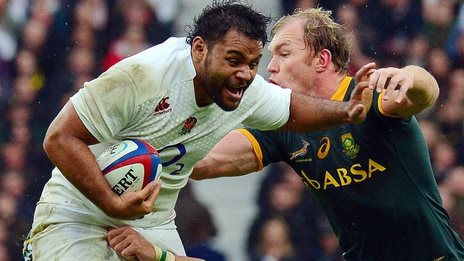 England's Billy Vunipola in action against South Africa