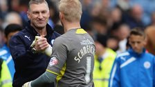 Leicester City manager Nigel Pearson with Kasper Schmeichel