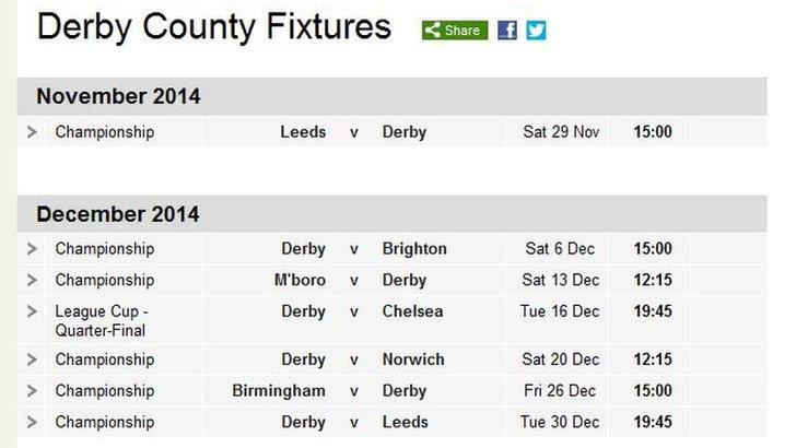 Derby County fixtures
