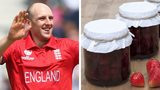 England spinner James Tredwell (left) and two jars of strawberry jam