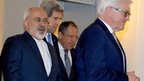 (from left) Iranian Foreign Minister Mohammad Javad Zarif, US Secretary of State John Kerry, Russian Foreign Minister Sergei Lavrov and German Foreign Minister Frank-Walter Steinmeier arrive for a group photo in Vienna, 24 November