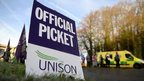A view of the official picket line outside the Basingstoke and North Hampshire Hospital in Basingstoke