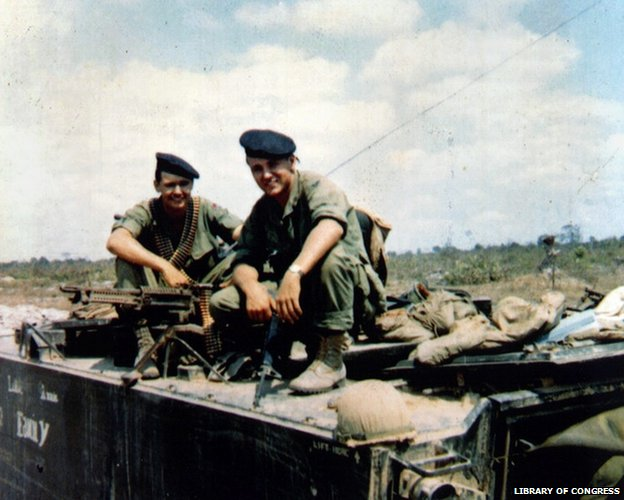 Chuck Hagel (right) as a soldier in Vietnam in 1968