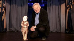 Lord Grade with a cardboard cutout of General Tom Thumb