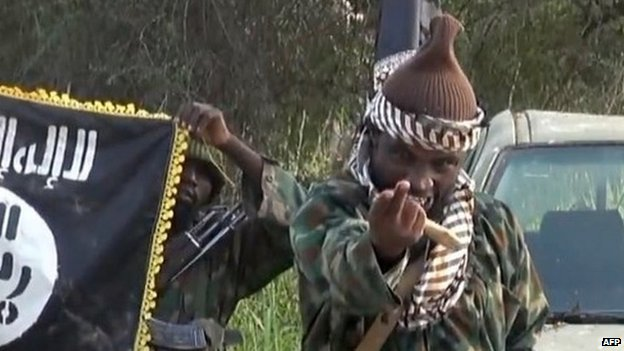 Boko Haram leader Abubakar Shekau with fighters. 31 October 2014