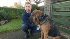 Steve Williams with Hector the bloodhound