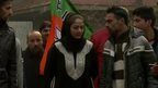 Hina Bhat (centre) is a Kasmiri Muslim, standing for the Hindu nationalist party BJP