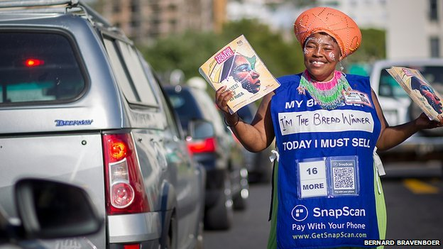 Big Issue seller in Cape Town