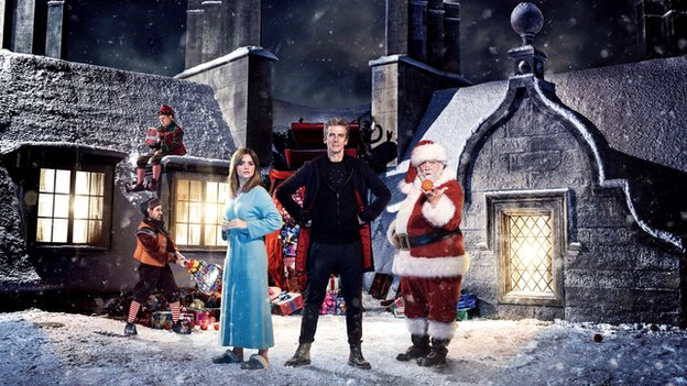 Doctor Who stars Jenna Coleman and Peter Capaldi with Father Christmas (Nick Frost)