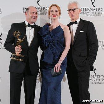Mad Men creator Matthew Weiner with Christina Hendricks and John Slattery