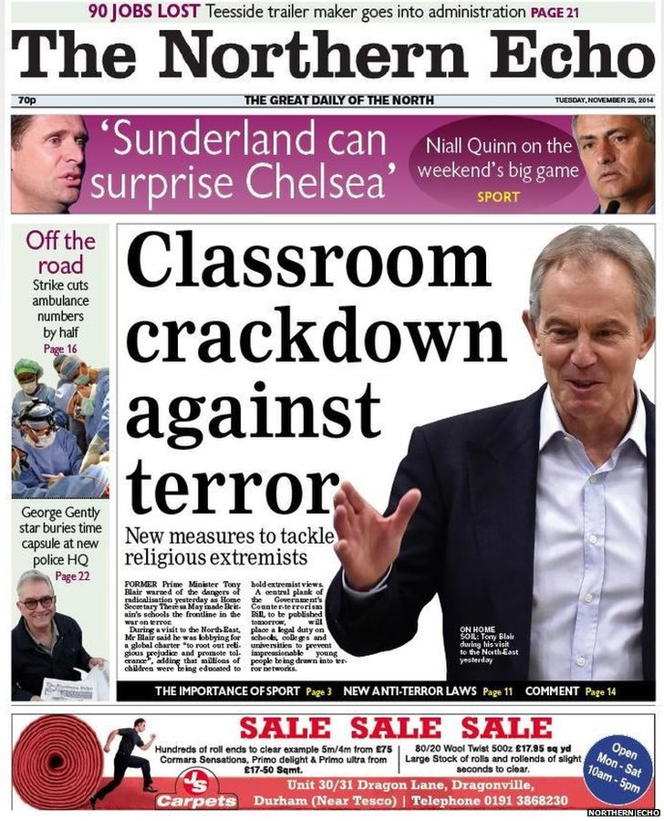 Northern Echo front page
