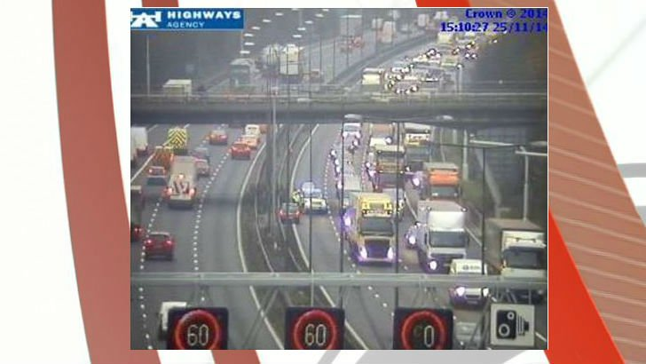 The lane closure on the M6