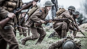 Re-enactment of British soldiers fighting