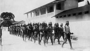 Locally recruited troops under German command  in German East Africa, now Tanzania