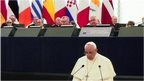 Pope delivers speech in Strasbourg