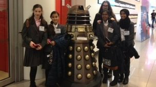School Reporters meet a Dalek on the last Practice News Day