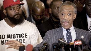 Al Sharpton speaks during a news conference at Greater St Marks Church alongside Michael Brown Sr - 25 November 2014