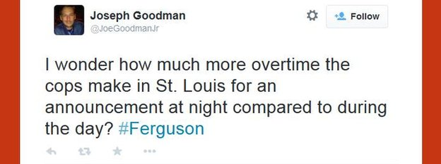 A tweet about Ferguson by @JoeGoodmanJr