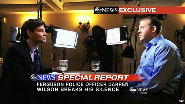 Officer Darren Wilson in an exclusive interview with ABC News on 26 November 2014