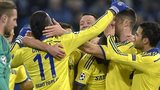 Chelsea players celebrate at Schalke