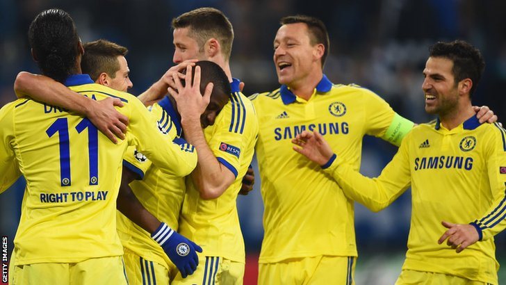 Chelsea celebrate during 5-0 win over Schalke