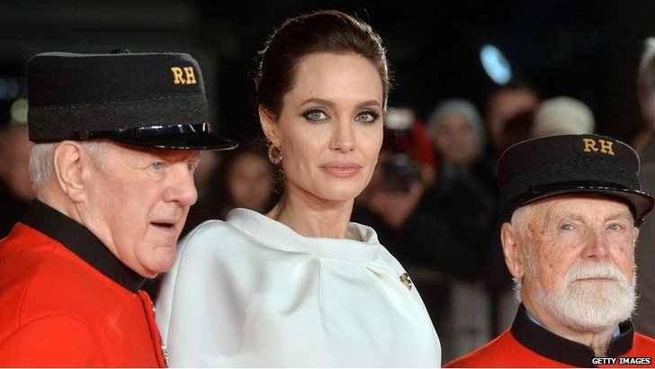 Angelina Jolie with Chelsea Pensioners