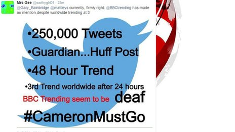 Twitter message directed at BBC Trending