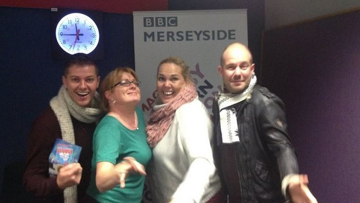 Helen Jones with cast of play Scouse of the Antarctic