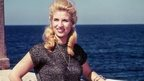 Lebanese veteran singer Sabah posing on the set of a film in the Mediterranean port city of Alexandria.