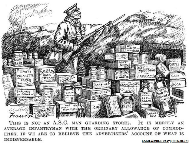 Infantryman surrounded by 'essential' goods. This advert from Punch, printed in December 1915, mocks the number of must-have items sold to soldiers