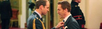 Damian Lewis receives his OBE from the Duke of Cambridge