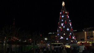 A giant Christmas tree in Dortmund, Germany