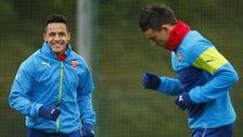 Arsenal striker Alexis Sanchez in training