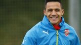 Arsenal striker Alexis Sanchez in training
