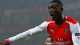 Arsenal's Yaya Sanogo celebrates