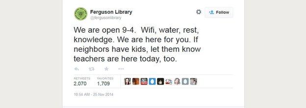 Ferguson library tweet