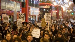 Protesters in Oxford Street, London