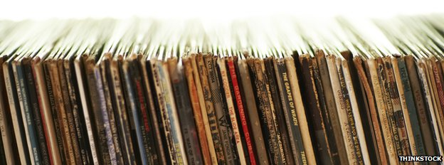 Row of vinyl records
