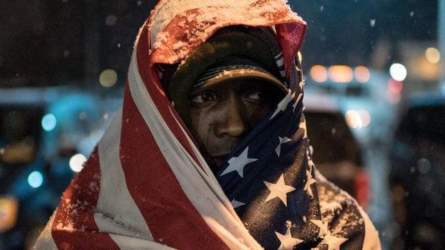 Protester in Ferguson