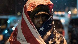 Protester in Ferguson