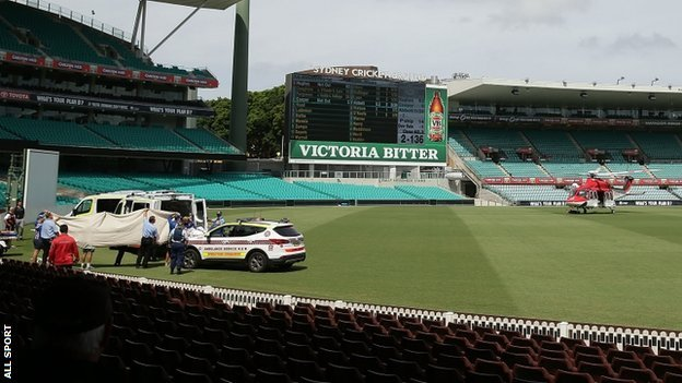 Emergency vehicles and helicopter at Sydney Cricket Ground. 25 Nov 2014