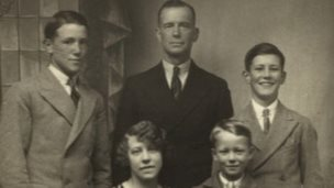 Brother Ernest, father Ernest, Ron, mother Bertha and Ken (front) before the tragedy (image supplied through Herefordshire Lore)