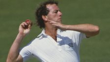 Simon Hughes bowling for Middlesex, in July 1985