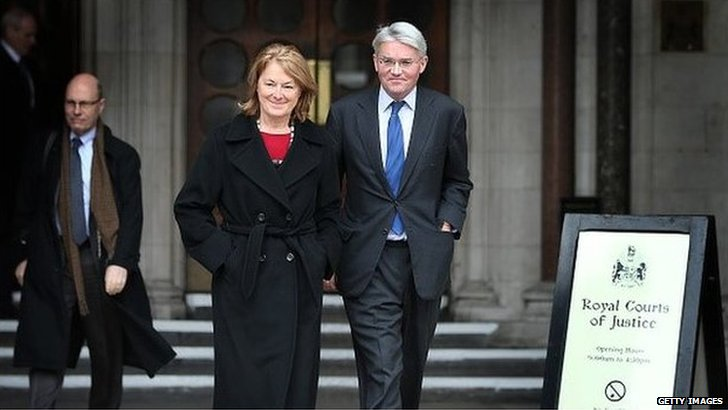 Andrew Mitchell and his wife outside the High Court