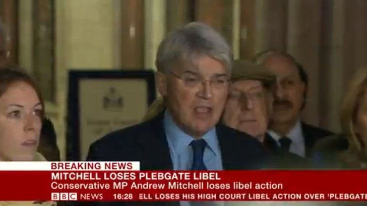 Andrew Mitchell speaking outside court
