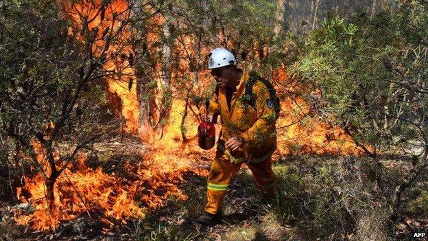 A fire fighter tackles a bushfire in Australia