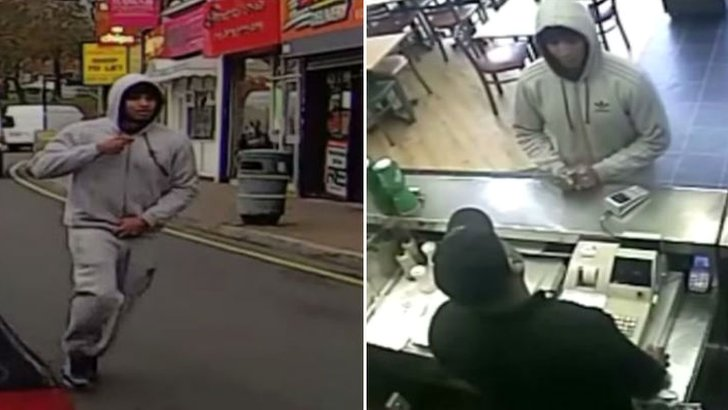 CCTV of a man police want to speak to after a chip shop stabbing