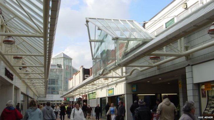 Birkenhead Shopping Centre with the Pyramids Shopping centre behind
